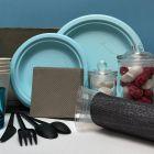 Assiette Bio bleu macaron 23 cm. Home compost. Fibres végétales. Par 12