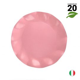 20 Assiettes pétale 21 cm rose. Biodégradables et compostables.