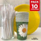 Pack spécial 10 personnes jaune marguerite