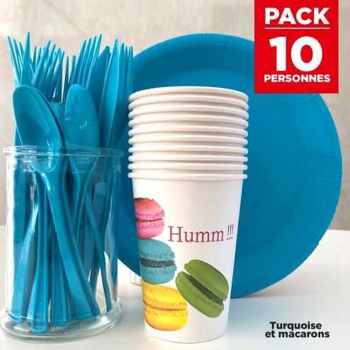 Pack spécial 10 personnes Turquoise et macarons