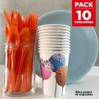 Pack spécial 10 personnes bleu pastel et cupcakes