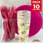 Pack spécial 10 personnes Fuchsia esprit liberty