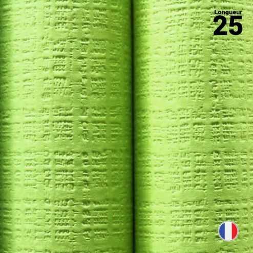 Nappe papier tendance lin vert anis. 25 mètres.