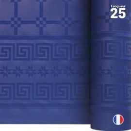 Nappe en papier damassé bleu marine. 25 mètres.