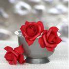 Roses mousse sur tige rouges 5 cm