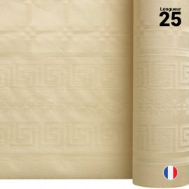 Nappe en papier damassé ivoire. 25 mètres.