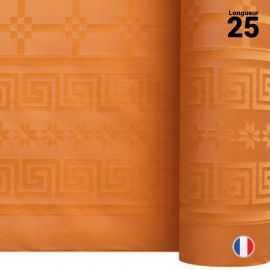 Nappe en papier damassé mandarine. 25 mètres.