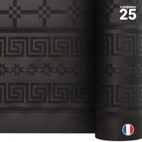 Nappe en papier damassé noire. 25 mètres.