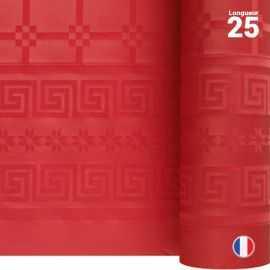 Nappe en papier damassé rouge. 25 mètres.