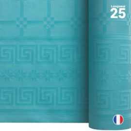 Nappe en papier damassé turquoise. 25 mètres.