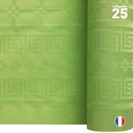 Nappe en papier damassé vert anis. 25 mètres.