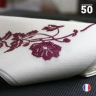 """Serviette en non-tissé """"Magnolia bordeaux"""" . 40 x 40c m. Par 50."""