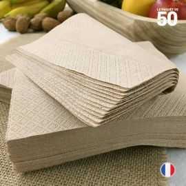 50 serviettes papier kraft. 33 x 3 3cm. 2 plis.