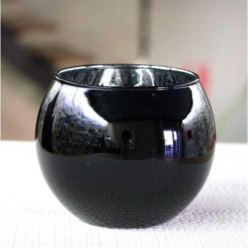 Photophore de table noir boule 10 cm