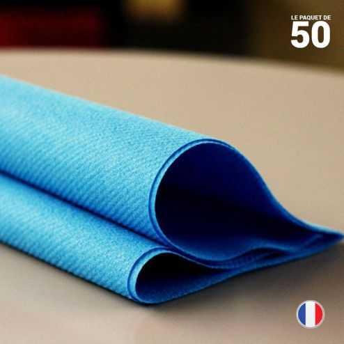 Serviette en non-tissé bleu canard. 40 cm x 40 cm.