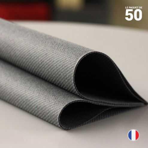 Serviette en non-tissé gris titane. 40 cm x 40 cm.