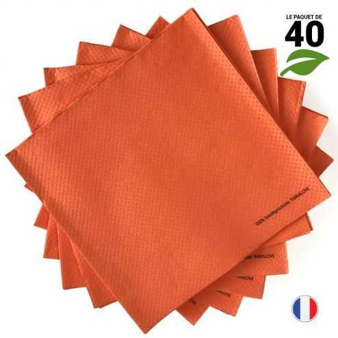 Serviettes Ethik chic Orange. 40 cm x 40 cm.