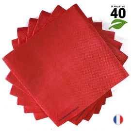 Serviettes Ethik chic rouge cerise. 40 cm x 40 cm. Par 40.