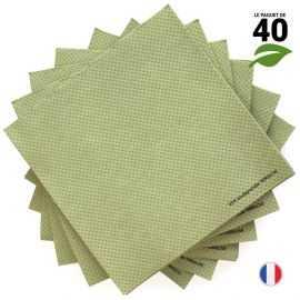 Serviettes Ethik chic 40 x 40 vert tilleul. Par 40.