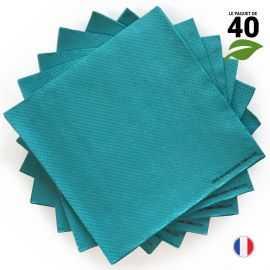 Serviettes Ethik chic 40 x 40 cm. Bleues.