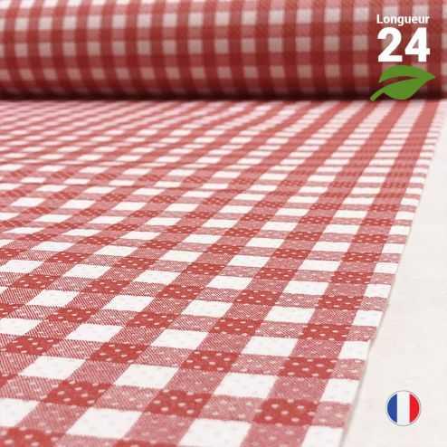Chemin de table Vichy biodégradable 24 mètres.