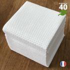 Mini-serviettes blanches biodégradables. 20 cm x 20 cm. Par 40.
