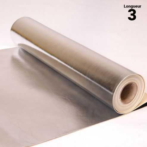 Chemin de table style cuir argent. 3 mètres.