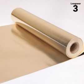 Chemin de table style cuir or blanc. 3 mètres.