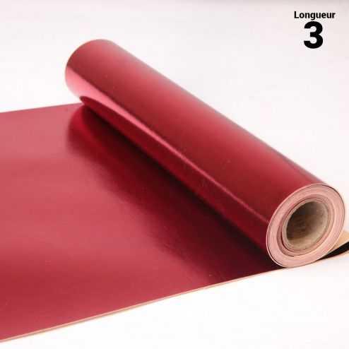 Chemin de table style cuir rouge. 3 mètres.