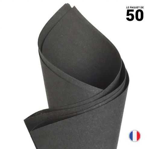 Serviette en non-tissé façon lin. Noire. 40 cm x 40 cm. Par 50.