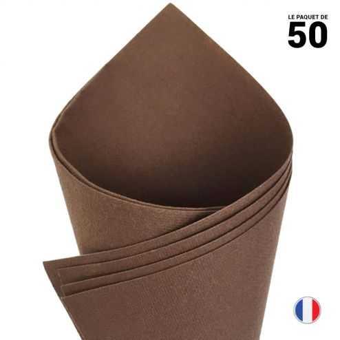 Serviette en non-tissé façon lin. Chocolat. 40 cm x 40 cm. Par 50.