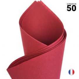 Serviette en non-tissé façon lin. Bordeaux 40 cm x 40 cm. Par 50.