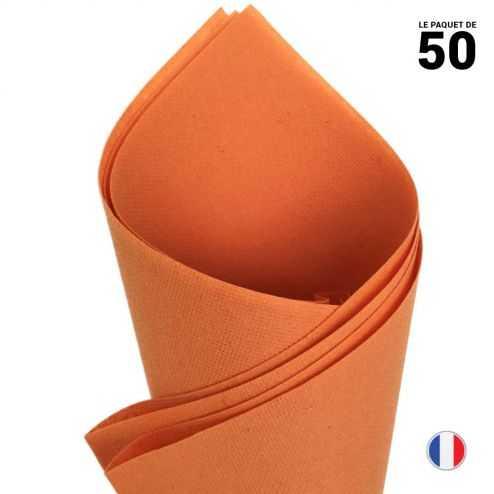 Serviettes en non-tissé façon lin Papaye 40cm x 40cm Par 50.