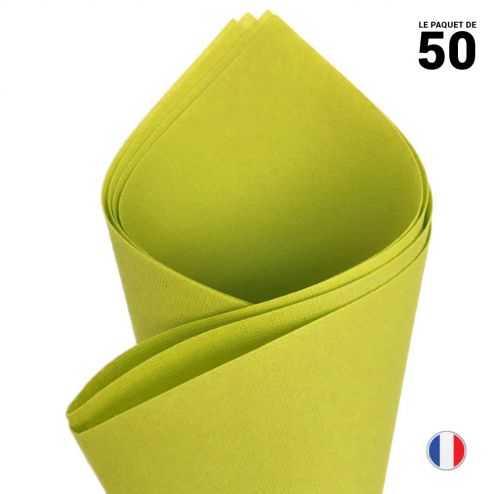 Serviette en non-tissé façon lin. Vert anis. 40 cm x 40 cm. Par 50.
