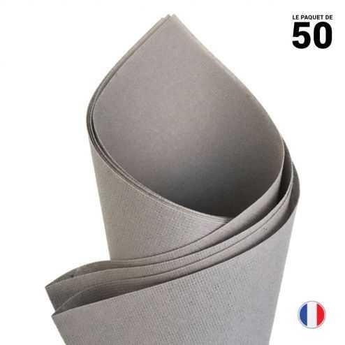 Serviette en non-tissé façon lin. Gris béton. 40 cm x 40 cm. Par 50.