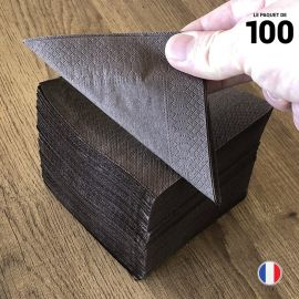 """Serviettes """"Cocktail"""" Chocolat. 20 cm x 20 cm."""