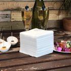 Serviettes Cocktail blanches 20 cm x 20 cm.