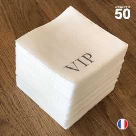 Serviette papier cocktail décor VIP. 20 cm x 20 cm. Par 50.