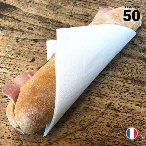 50 serviettes en papier blanc. 33 cm x 33 cm. 2 plis.
