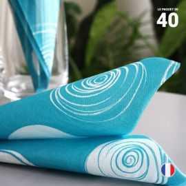 40 Serviettes papier 38 cm x 38 cm. Décor cercles turquoise.