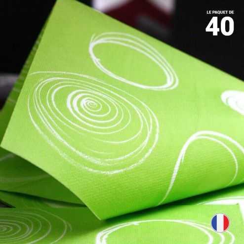 40 Serviettes papier 38 cm x 38 cm. Décor cercles vert anis.