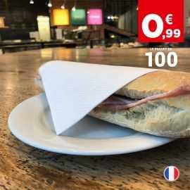 100 serviettes blanches en papier. 29 cm x 29 cm. 1 pli.