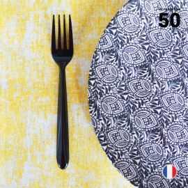 50 Fourchettes luxe noires. Lavables - Réutilisables.
