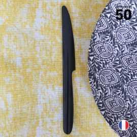 50 Couteaux luxe noirs. Lavables - Réutilisables.
