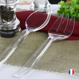 Couverts à salade cristal. Recyclables. Réutilisables.