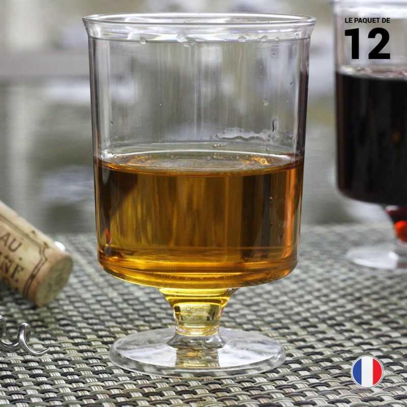 12 Verres à vin cristal 16 cl. Lavables Réutilisables.