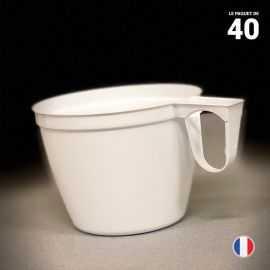 40 tasses blanches 15 cl. Lavables - Réutilisables.