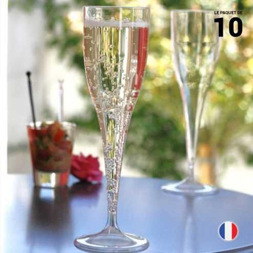 10 Flûtes cristal 12 cl Lavables - Réutilisables.