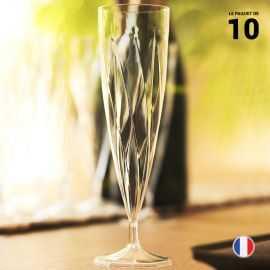 10 Flûtes cristal torsadées 13,5 cl. Lavables - Réutilisables.