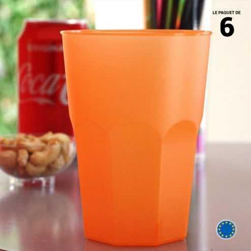6 Verres cocktail orange 42 cl Lavables - Réutilisables.